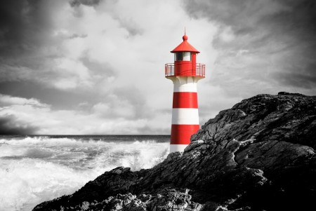 Poster Red Lighthouse In Storm