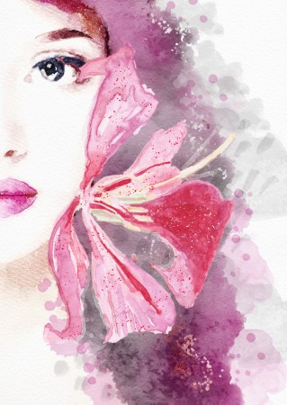 Poster Watercolor Abstract Lady